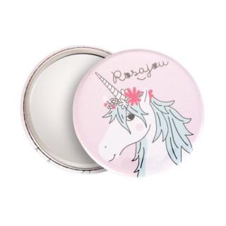 Miroir de poche licorne