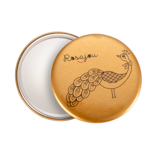 miroir de poche doré avec paon