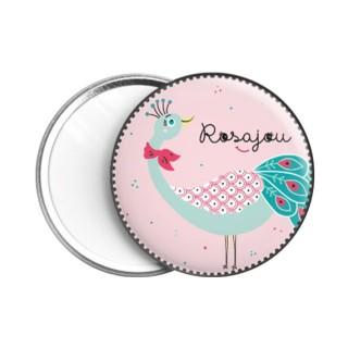 Miroir poche rose avec paon vert et rose