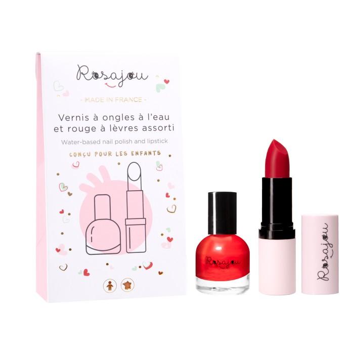 pack rouge à lèvres et vernis à ongles rouge