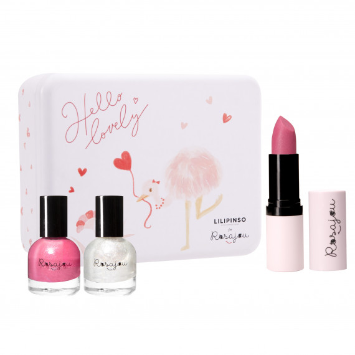 boîte maquillage + vernis rose + vernis nacré + rouge à lèvres rose